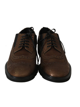 Dolce & Gabbana Brown Leather Derby Wingtip Dress Shoes