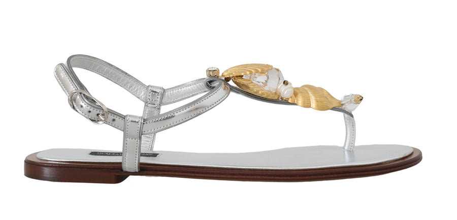Dolce & Gabbana Silver Leather Seashell Pearl Sandals - Women - Shoes - Sandals - Dolce & Gabbana | Gethuda Fashion
