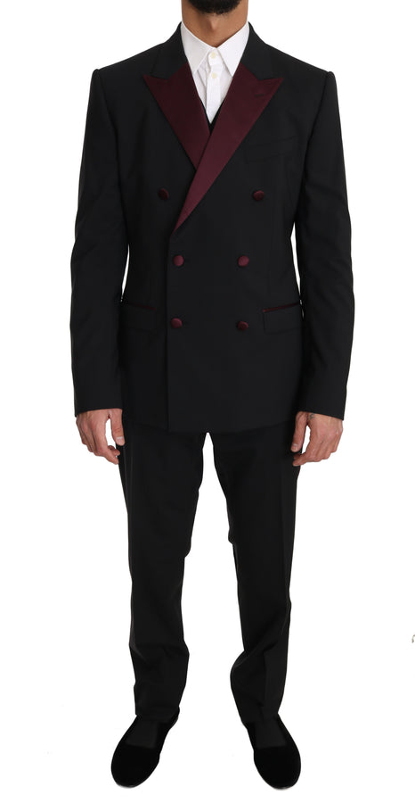 Dolce & Gabbana Black Wool 3 Piece Double Breasted -  - Dolce & Gabbana | Gethuda Fashion