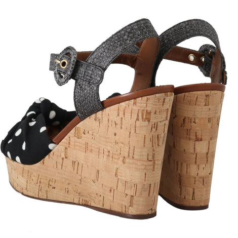 Dolce & Gabbana Black Polka Dot Straw Cork Sandals