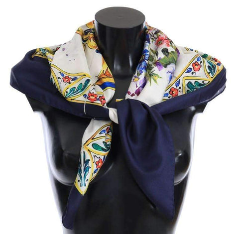 Dolce & Gabbana Blue Floral Print Silk Scarf - Women - Accessories - Scarves - Dolce & Gabbana | Gethuda Fashion