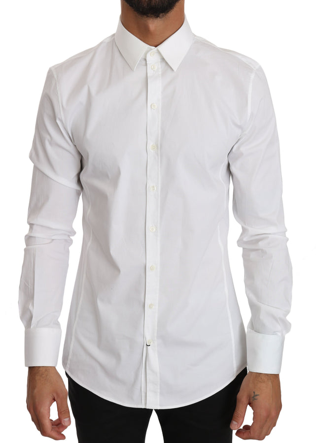 Dolce & Gabbana White Cotton Stretch SICILIA Slim Shirt - Men - Apparel - Shirts - Dress Shirts - Dolce & Gabbana | Gethuda Fashion