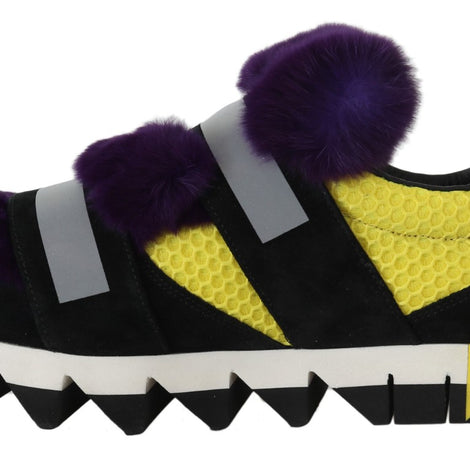 Dolce & Gabbana Black Leather Purple Fur Sneakers
