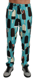 Blue Silk Ice Cream Print Lounge Pants