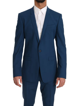 Dolce & Gabbana Blue Wool GOLD Stretch 2 Piece Slim Suit