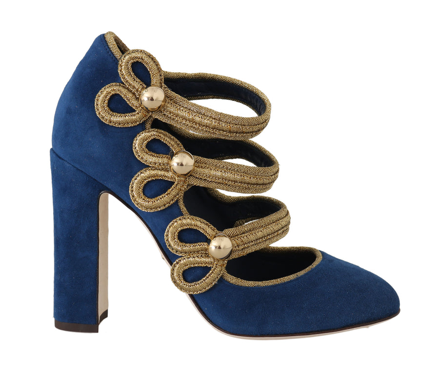 Dolce & Gabbana Blue Suede Gold Studs Mary Jane Pumps - Women - Shoes - Pumps - Dolce & Gabbana | Gethuda Fashion