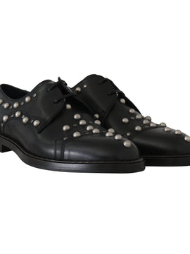 Dolce & Gabbana Black Leather Laceups Derby Studded Shoes