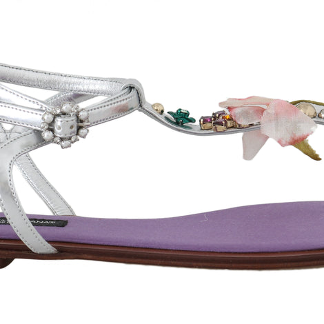 Dolce & Gabbana Silver Leather Floral Flat Sandals