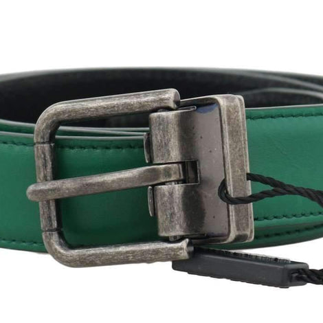 Dolce & Gabbana Green Leather Gray Buckle Belt