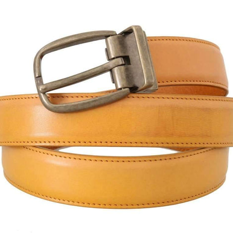 Dolce & Gabbana Yellow Leather Gold Buckle Belt