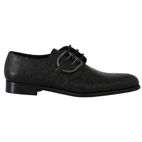 Dolce & Gabbana Black Leather Buckle Laceups Derby Shoes