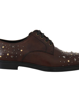 Dolce & Gabbana Brown Leather Laceups Derby Studded Shoes