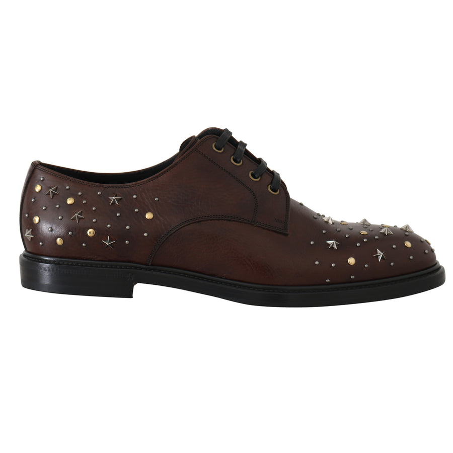 Dolce & Gabbana Brown Leather Laceups Derby Studded Shoes - Men - Shoes - Oxfords - Dolce & Gabbana | Gethuda Fashion
