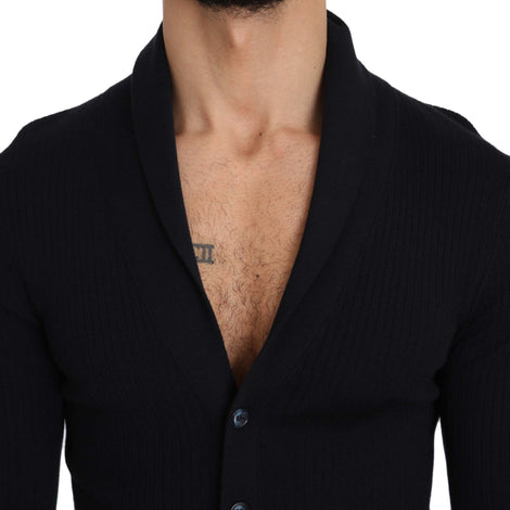 Dolce & Gabbana Blue Cashmere Button Cardigan Sweater