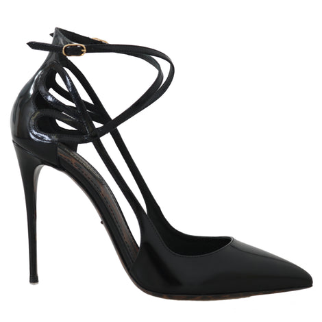 Dolce & Gabbana Black Patent Leather Ankle Strap