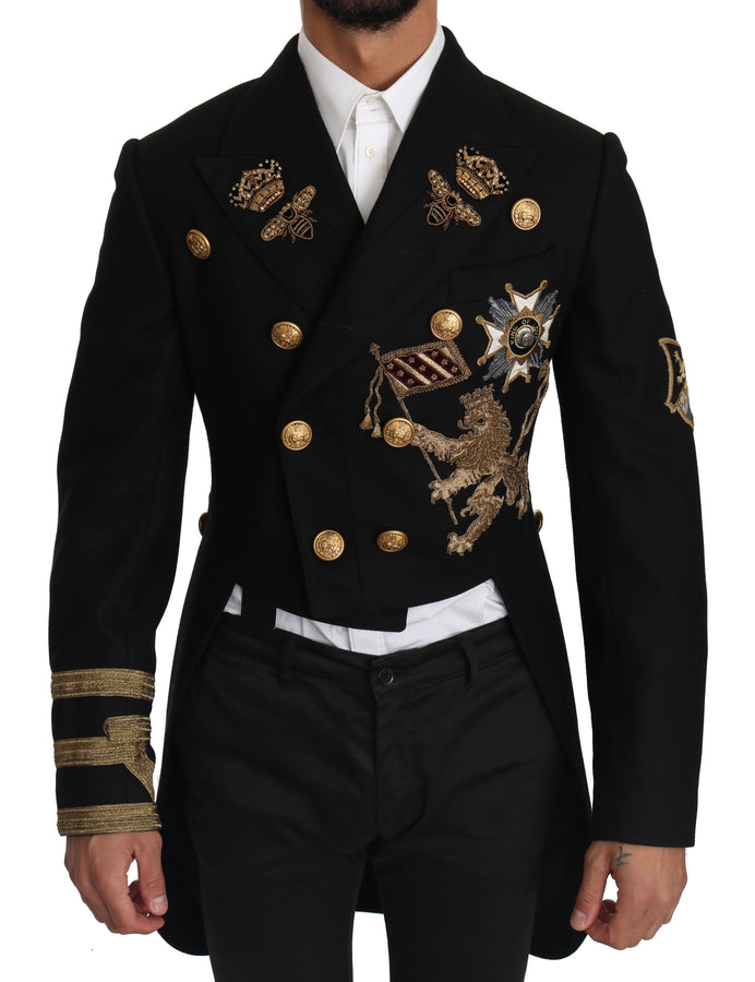 Dolce & Gabbana Black Wool Gold Crown Royal Order Tailcoat - Men - Apparel - Outerwear - Jackets - Dolce & Gabbana | Gethuda Fashion