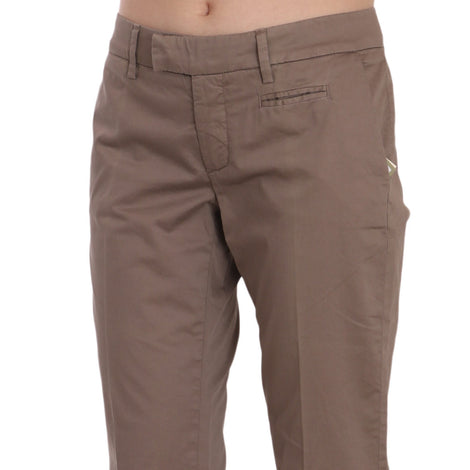 Brown Low Waist Straight Cut Trouser Pant