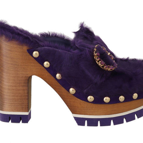 Dolce & Gabbana Purple Xiangao Fur Crystal Mules - Women - Shoes - Wedges Espadrilles - Dolce & Gabbana | Gethuda Fashion