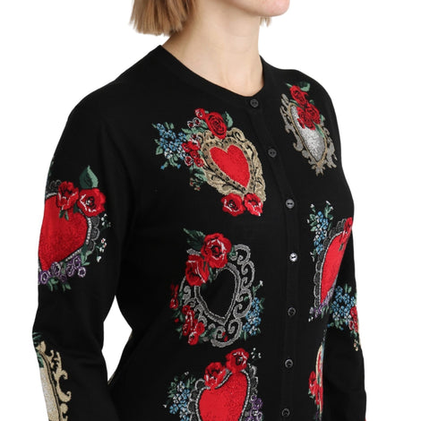 Black Hearts Roses Wool Cardigan Sweater