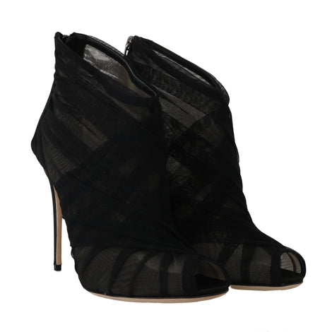 Dolce & Gabbana Black Silk Tulle Ankle Booties - Women - Shoes - Sandals - Dolce & Gabbana | Gethuda Fashion