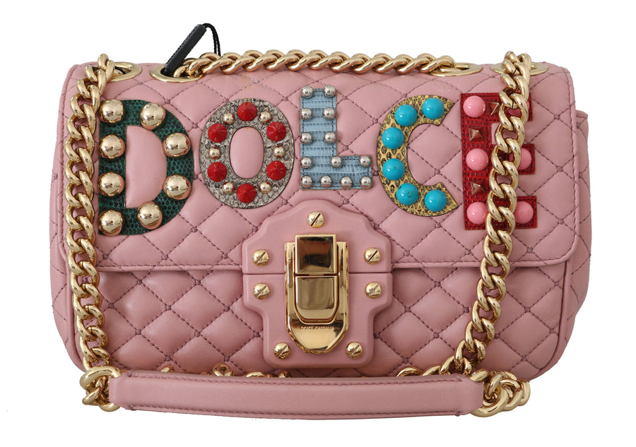 Dolce & Gabbana LUCIA Pink Quilted Leather Shoulder Satchel Purse - Women - Bags - Satchels - Dolce & Gabbana | Gethuda Fashion