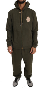 Billionaire Italian Couture Hooded Full Zip Green Cotton Mens Sweater -  - Billionaire Italian Couture | Gethuda Fashion