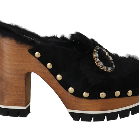 Dolce & Gabbana Black Xiangao Fur Crystal Mules - Women - Shoes - Wedges Espadrilles - Dolce & Gabbana | Gethuda Fashion