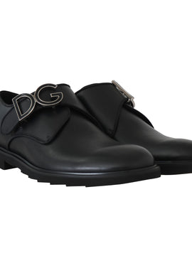 Dolce & Gabbana Black Leather Monkstrap Dress Formal Shoes