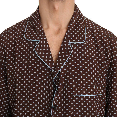 Dolce & Gabbana Brown Blue Polka Dot Silk Shirt - Men - Apparel - Shirts - Dress Shirts - Dolce & Gabbana | Gethuda Fashion