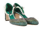 Dolce & Gabbana Green Leather Silk Crystal Sandals - Women - Shoes - Pumps - Dolce & Gabbana | Gethuda Fashion