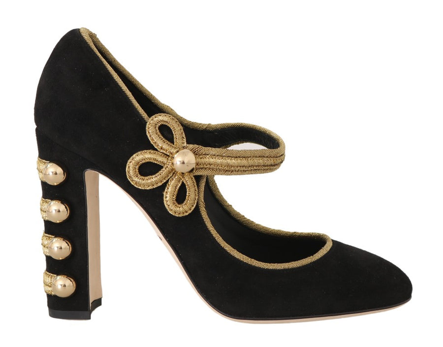 Dolce & Gabbana Black Suede Gold Studs Mary Janes Pumps - Women - Shoes - Pumps - Dolce & Gabbana | Gethuda Fashion