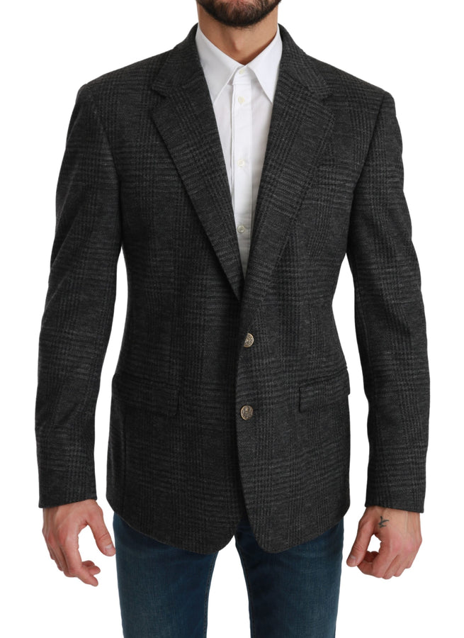 Gray Plaid Check Wool Formal Jacket Blazer