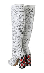 Dolce & Gabbana White Leather Knee High Print Boots -  - Dolce & Gabbana | Gethuda Fashion