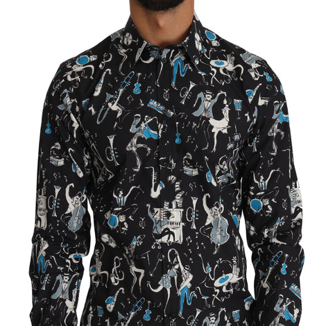 Dolce & Gabbana Black Cotton JAZZ Motive Print GOLD Mens Shirt