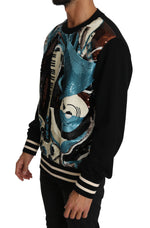 Dolce & Gabbana Black Blue Cotton Sequined Music Sweater - Men - Apparel - Sweaters - Pull Over - Dolce & Gabbana | Gethuda Fashion