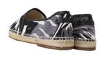 Dolce & Gabbana Gray Canvas Leather Leaves Espadrille - Men - Shoes - Loafers Drivers - Dolce & Gabbana | Gethuda Fashion