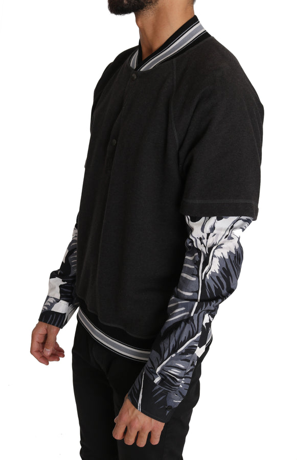 Dolce & Gabbana Gray Cotton Leaves Print Henley Sweater - Men - Apparel - Sweaters - Pull Over - Dolce & Gabbana | Gethuda Fashion