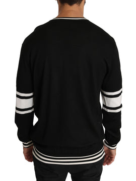 Dolce & Gabbana Black Silk Guitar Crewneck Pullover Sweater