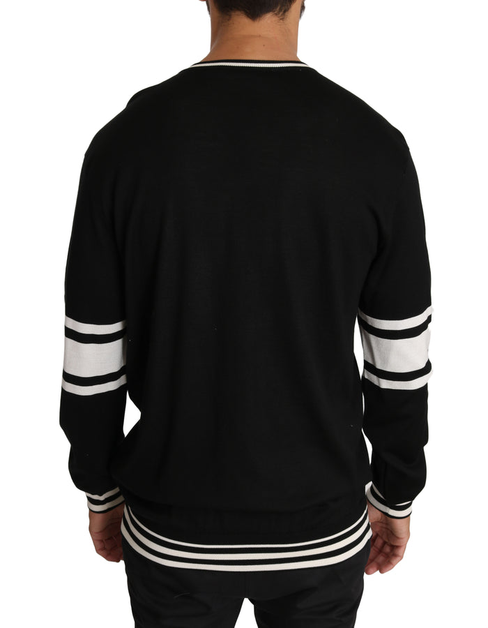 Dolce & Gabbana Black Silk Guitar Crewneck Pullover Sweater - Men - Apparel - Sweaters - Pull Over - Dolce & Gabbana | Gethuda Fashion