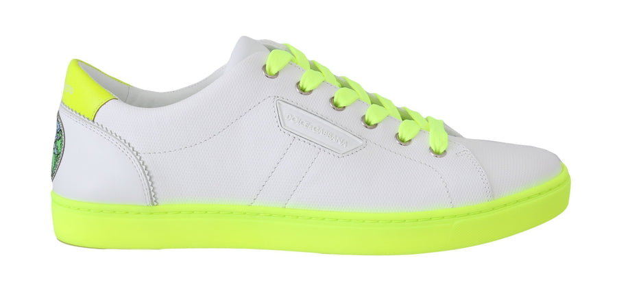 Dolce & Gabbana White Leather Yellow dglovesyou Sneakers