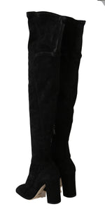 Dolce & Gabbana Black Solid Suede Over Knee Boots -  - Dolce & Gabbana | Gethuda Fashion
