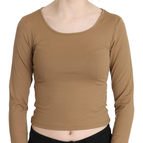 Brown Round Neck Long Sleeve Slim Crop Top Blouse - Women - Apparel - Shirts - Blouses - GF Ferre | Gethuda Fashion