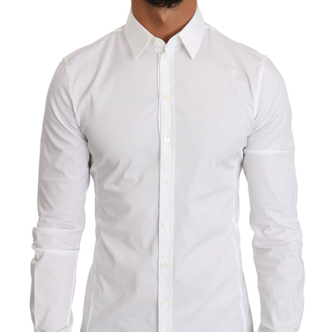 Dolce & Gabbana White Cotton SICILIA Slim Fit Dress Shirt - Men - Apparel - Shirts - Dress Shirts - Dolce & Gabbana | Gethuda Fashion