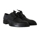 Dolce & Gabbana Black Leather Laceups Derby Laceups Shoes