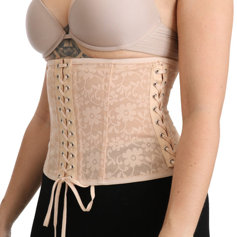 Beige Floral Lace Corset Belt Strap Nylon Top