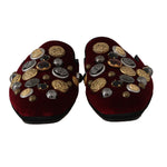 Dolce & Gabbana Bordeaux Velvet Crystal Slides Slippers - Men - Shoes - Sandals - Dolce & Gabbana | Gethuda Fashion