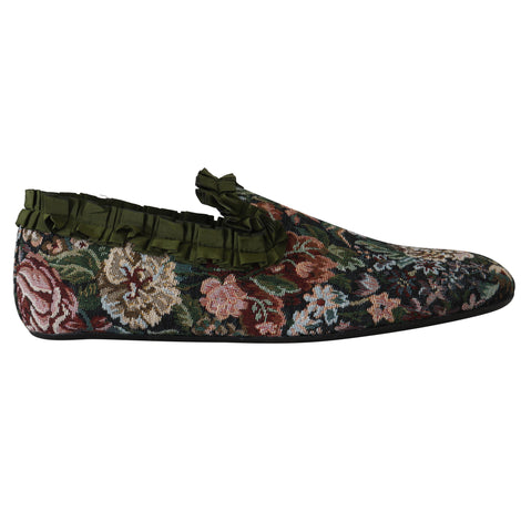 Dolce & Gabbana Fiori Ricamo Floral Slides Loafers Shoes