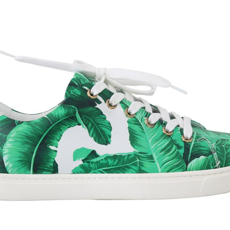 Dolce & Gabbana Leather White Green Banana Sneakers
