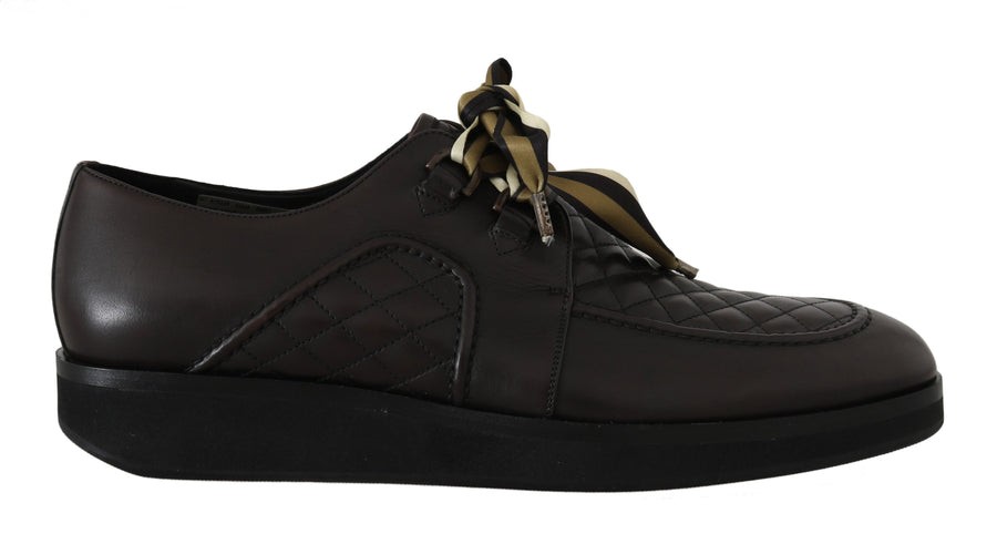 Dolce & Gabbana Brown Leather Casual Laceup Derby Shoes - Men - Shoes - Loafers Drivers - Dolce & Gabbana | Gethuda Fashion
