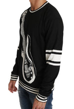 Dolce & Gabbana Black Cotton Guitar Crewneck Pullover Sweater - Men - Apparel - Sweaters - Pull Over - Dolce & Gabbana | Gethuda Fashion